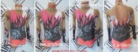 Suit for art gymnastics The article № 4705 Sizes: Growth of 110-118 centimeters - www.artdemi.ru